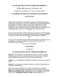 Lee más sobre el artículo Ley 159 Nic, Día del Trabajo doméstico